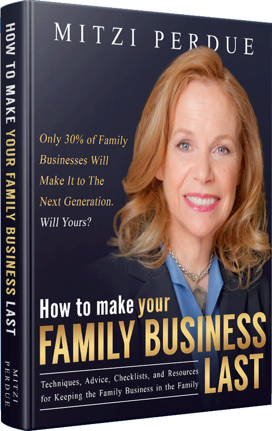 Book cover for Mitzi's book 'How to Make Your Family Business Last'
